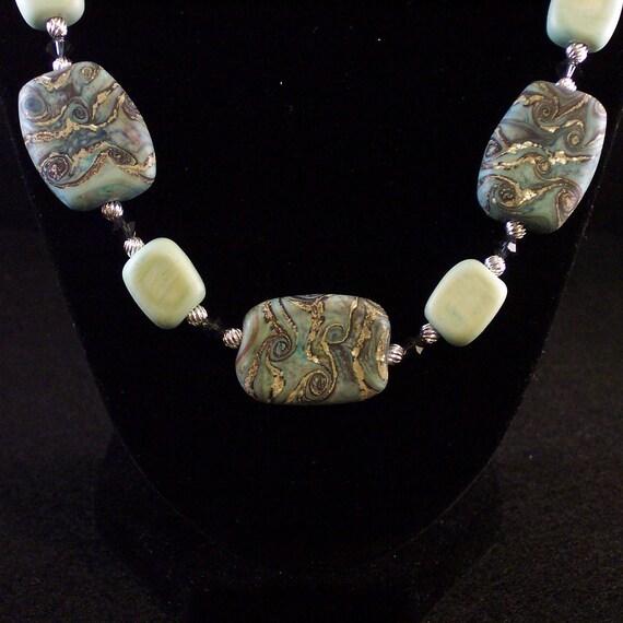 Lampwork Glass Necklace & Earrings Set: Petrified Water