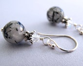 Modern Fascination Earrings - Tourmaline Faceted Quartz, Swarovski Crystals, Sterling Silver