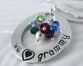 "We Love Grammy Necklace - 1"" Hand Stamped Sterling Silver Donut, Birthstone Crystals SJ133"