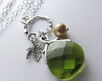 Olive Branch Necklace - Olivine Swarovski Crystal Briolette, Fresh Water Pearl, Sterling Silver Maple Leaf