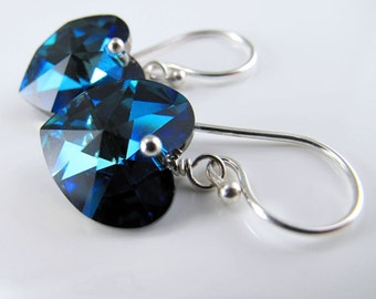 Captured Heart Earrings - Bermuda Blue Swarovski Crystal Hearts and Sterling Silver