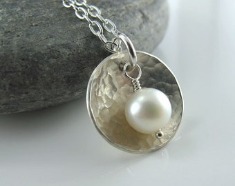 Cup of Pearl Necklace - Sterling Silver,Textured Domed Disc, White Fresh Water Pearl