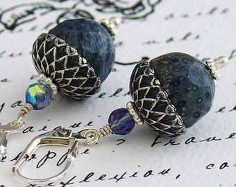 Sweet Acorn Oak Coral Earrings - Faceted Blue Coral Beads, Antique Silver Acorn Caps, Czech Crystals, Sterling Silver