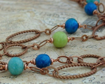 Copper Tide Pool Necklace - Antique Copper, Blue, Green Lime Stone Beads
