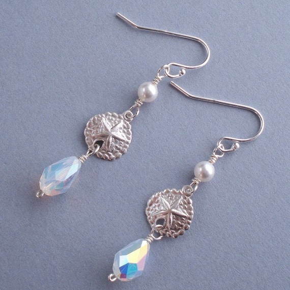 Sand Dollar Shimmer Earrings - Sterling Silver Sand Dollar Charm, Swarovski Crystal White Pearls and Opal AB Tear Drops