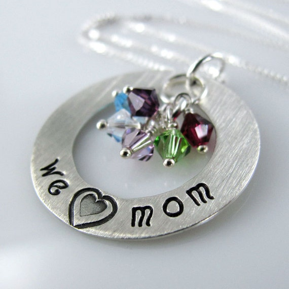 """We Love Mom Necklace -  1"""" Hand Stamped Personalized Sterling Silver Donut, Swarovski Birthstone Crystals"""