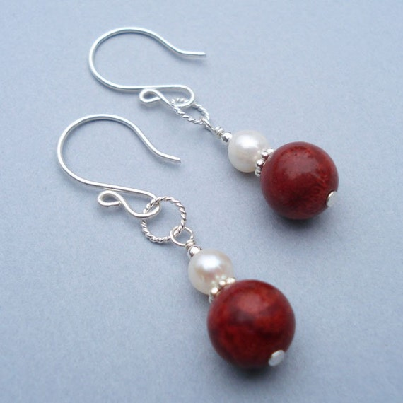 Silk and Coral Earrings - Round Coral Beads, White Fresh Water Pearls, Sterling Silver