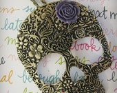 Sugar Skull Necklace with Purple Rose