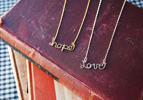 14k Gold.personalized name custom wire necklace