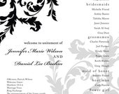 Black and White Scroll Wedding Program Poster