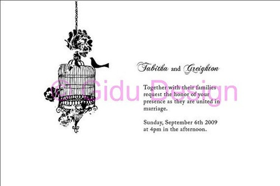 Wedding Invitations Birdcage: Wedding Invitation Vintage Birdcage