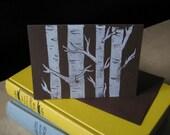 White Birch Tree - Block Printed Card