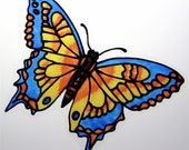 Yellow and Blue Butterfly with Tails Laptop Decal or Window Cling Suncatcher With Stained Glass Effects MADE TO ORDER