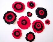 Die cut appliques - RED BLACK POPPIES- 10pcs