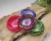 Wholesale flowers for crafts, handmade large satin flower appliques, artificial silk flowers, corsage flowers (4pcs)- PINK-GREEN-PERIWINKLE