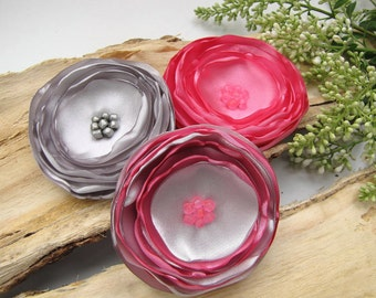 Fabric flowers bulk, large satin flowers, flower appliques, flowers for wedding crafts, large silk flowers  (3pcs)- BUBBLEGUM PINK and GRAY