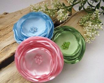 Large fabric flowers, satin flower appliques, wedding wholesale flowers, pastel flowers, faux silk satin flowers (3pcs)- GREEN- PINK- BLUE