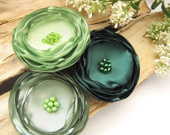 Large satin flowers, fabric flower appliques, floral appliques, green flower embellishments, wedding bouquet flowers (3pcs)- SHADES OF GREEN