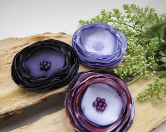 Sew on flowers, large fabric flowers, satin flower appliques, embelishments for scrapbooking, silk satin flowers (3pcs)- SHADES OF PURPLE
