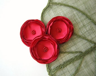 Large fabric flowers, silk flowers bulk, flowers for wedding, headband flowers, rose fabric flowers, satin appliques (3pcs)- RED BLOSSOMS