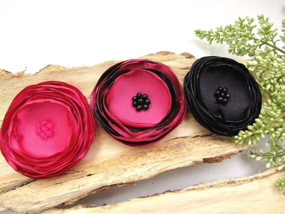 Fabric flowers, flower appliques, big satin flowers, artificial roses, silk flowers for weddings, sew on flowers (3pcs)- BLACK AND FUCHSIA