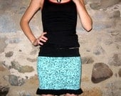 Kitty Mini Skirt in Blue and Black Small Medium by Vicmes Clothing