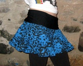 RESERVED Eco Friendly Blue Leopard Scrap Coton Mini Skirt Large/Xlarge by Vicmes Clothing