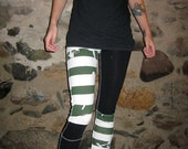 Green and White striped Patchwork Punk Legging/Pants XS/Small By Vicmes Clothing