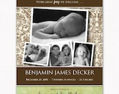 baby birth announcement in green and brown damask