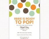 Ready to pop baby shower or birthday party invitation, baby boy or baby girl