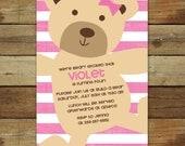 teddy bear birthday invitation, pink stripes, teddy bear birthday party, teddy bear party printable