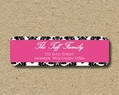 Custom return address labels, self-adhesive address stickers - pink and black damask