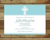 Baptism invitation, infant dedication invitation or Christening invitation, double edged cross, overnight shipping
