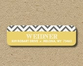 Custom return address labels, self-adhesive address stickers, personalized labels - Gray chevron, with yellow