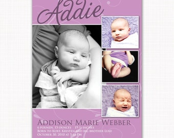 Purple birth announcement for baby girl - baby girl photo card in purple - printable or printed cards