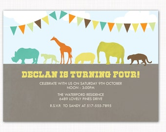 zoo birthday party invitation, perfect for zoo, jungle or safari themed parties