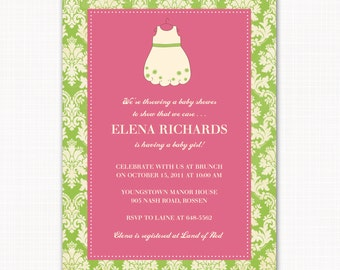 baby girl dress baby shower invitation, pink and green shower invitation