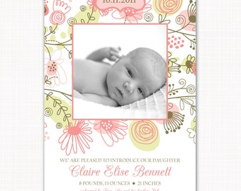 modern birth announcement for your baby girl - meadow