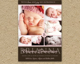 baby girl birth announcement collage card, can be customized for baby boys, too