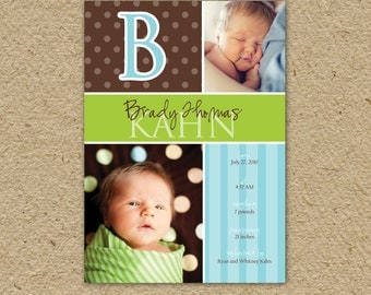 Baby boy birth announcement in blue and green, custom baby boy photo card to announce birth