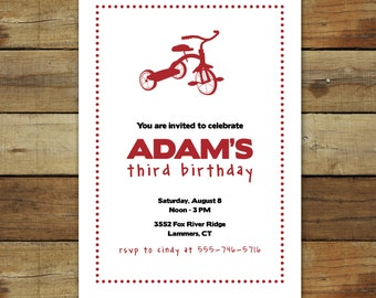 red tricycle birthday party invitation - toddler birthday party invitation as a printable or printed cards