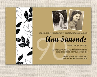 Invitation for 70th birthday party, 80th birthday party or 90th birthday party - include vintage photos
