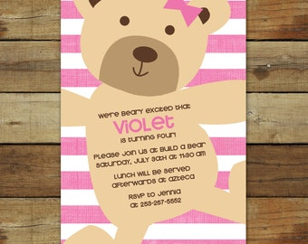 teddy bear birthday invitation, pink stripes, teddy bear birthday party, teddy bear party printable