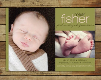 birth announcement for your baby boy or baby girl - fisher