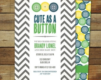 cute as a button baby shower invitation, baby boy, matching back side