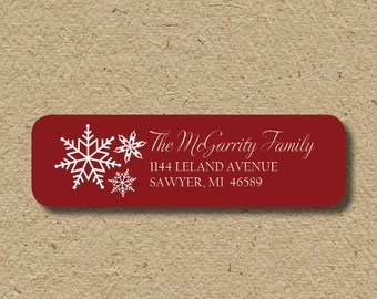 Holiday return address labels, self-adhesive -  snow flurry on red