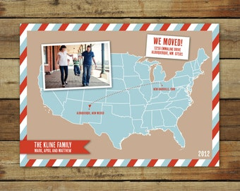 Map moving announcement, map photo card, cross country move, we've moved, US map customized with your location, moving post card