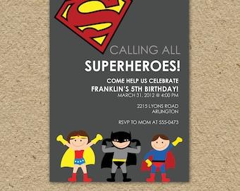 Superman birthday invitation, superman birthday party, super hero birthday party invitation - superman or batman