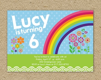 handmade rainbow birthday party invitations  etsy, party invitations
