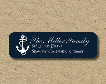 Nautical return address labels, return address label with anchor, self-adhesive - nautical anchors in navy blue